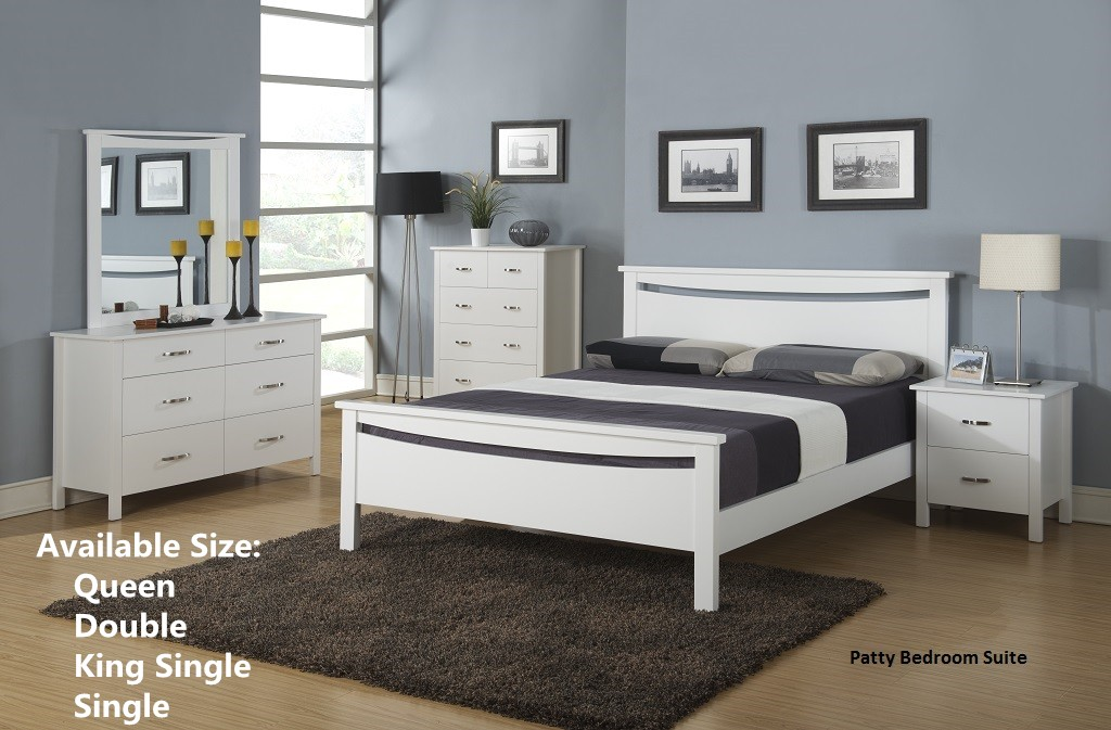 Patty Bed Frame(4 sizes)/Bedside Table/Tallboy/Dresser & Mirror