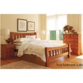 Troy Queen Solid Pine Bed Frame/Bedside Table/Tallboy/Dressing Table & Mirror